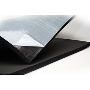Insulating rubber sheet with factory-applied pressure sensitive adhesive