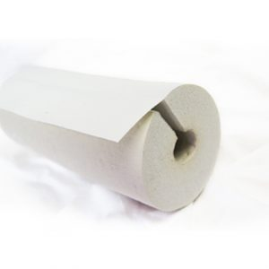 White Pre-slit rubber insulation tubing with seam seal