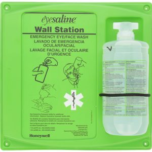Saline eye wash station