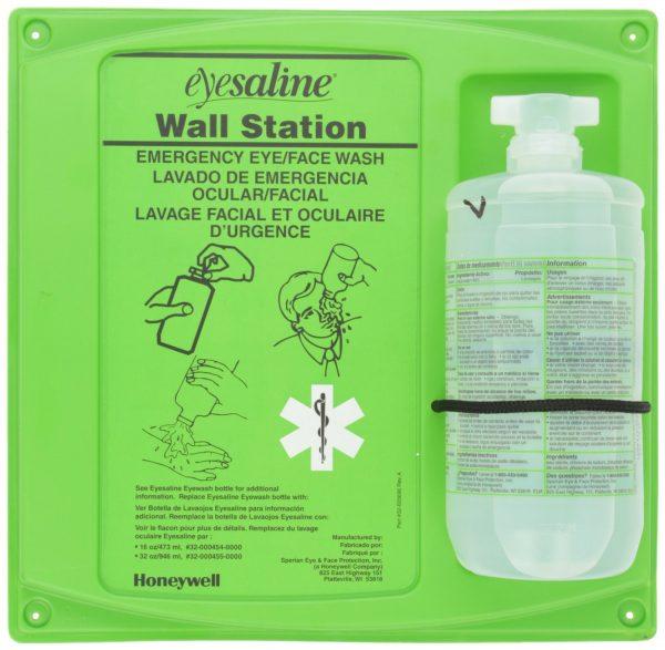 Saline eye wash station
