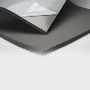 Sheet rubber insulation with psa
