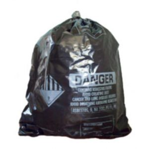 Asbestos containement bags, printed