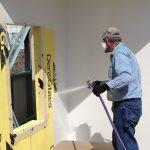 Spraying Liquid Air Barrier on Building Wall Panel