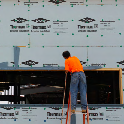 Dow Thermax Xarmor wall sheathing panel installation