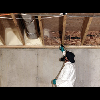Froth Pak Foam Sealant Application to Rim Joist