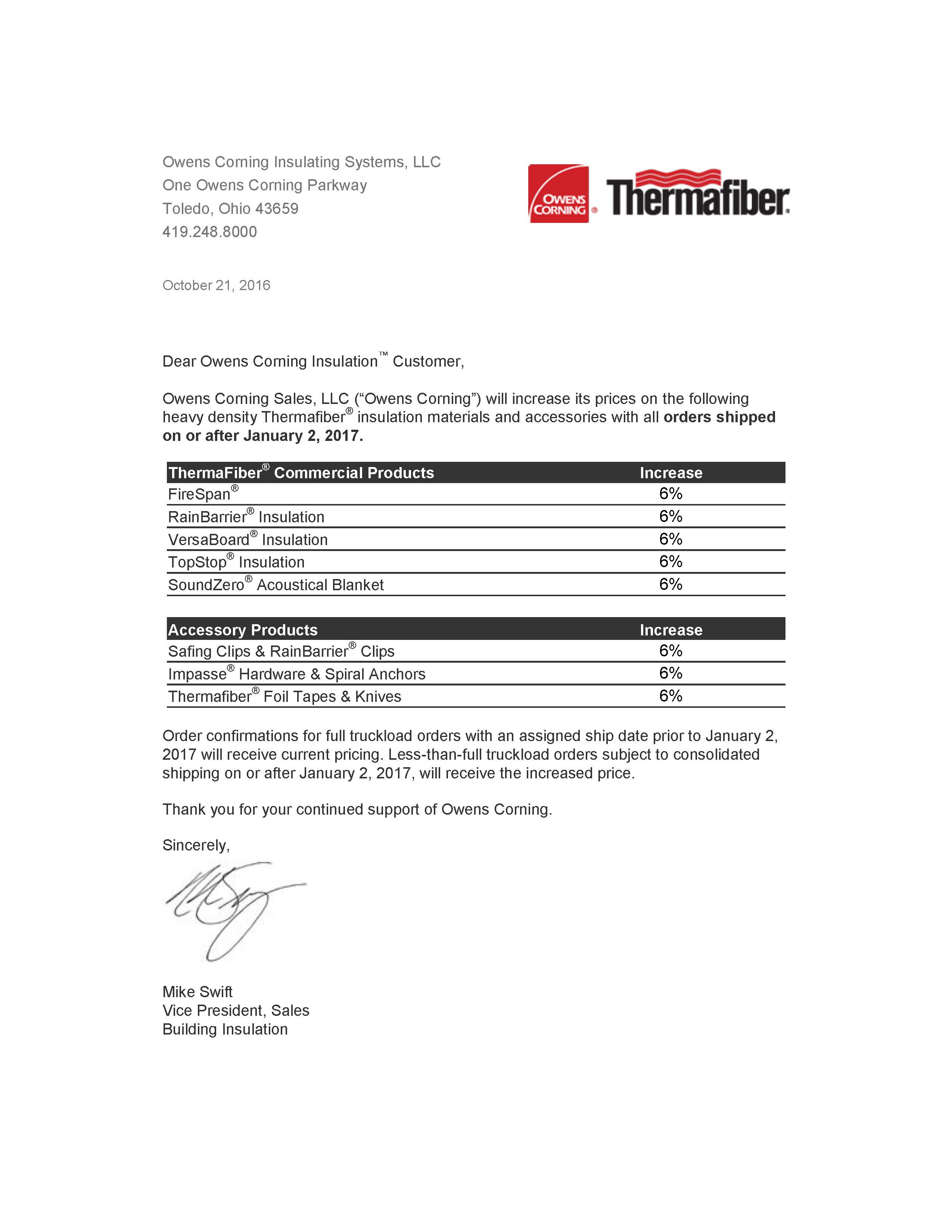 Thermafiber six percent price increase effective january 2 for Thermafiber insulation prices