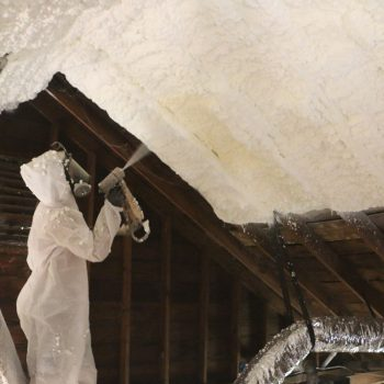 Spray Foam Insulation Application - Roof Joists